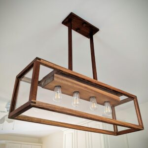 Our first wooden light is still our most complex.  Four Edison bulbs surrounded by a matrix of walnut.  Making electrical connections safe and accessible is harder than it looks.