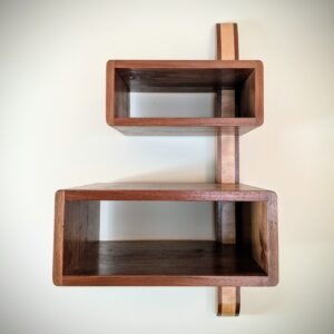 The DiStefano Shelf.  A walnut and ash spline connects two walnut boxes.  Rock solid and weightless at once.